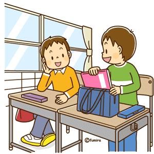 学校に着いた子供