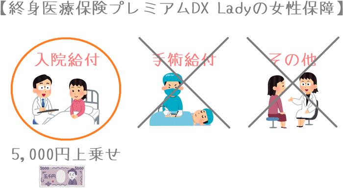 終身医療保険プレミアムDX Ladyの女性保障の上乗せ内容