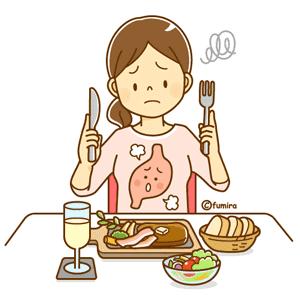 ファミレスで食べ過ぎた女性