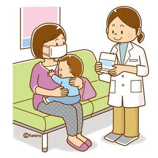 病院にいる赤ちゃんとお母さん