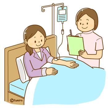 入院中の女性