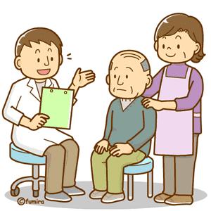 診断を受けるお年寄り